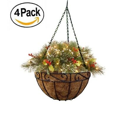 Amagabeli 4 Pack Metal Hanging Planter Basket with Coco Coir Liner 14 inch Round