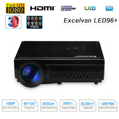 1080P Full HD Projector LED HD Potable Home Theater 5000Lm USB HDMI PS4 TV-Box