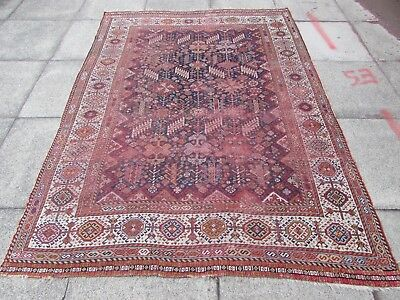 Antique Shabby Chic Hand Made Persian Oriental Wool Blue large Rug 225x164cm