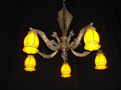 Antique large French Art Deco bronze chandelier with yellow shades