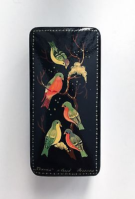 Russian Lacquer Box, Birds on a Branch, signed