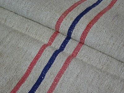 Antique European Feed Sack GRAIN SACK Red & Blue Stripes  # 9513