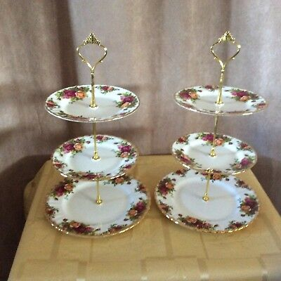 A Pair Of Royal Albert Old Country Roses 3 Tier Cake/Sandwich Stand. (a).