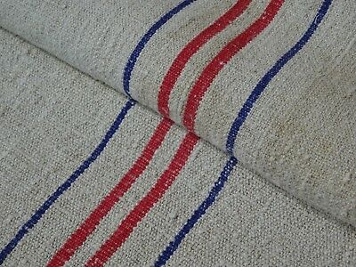 Antique European Feed Sack GRAIN SACK Red & Blue Stripe # 9517
