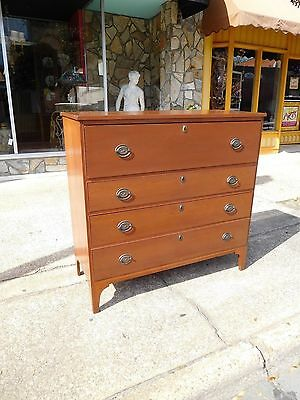 Fine Southern Mahogany Hepplewhite Four Drawer Chest With Brass Hardware 19thc