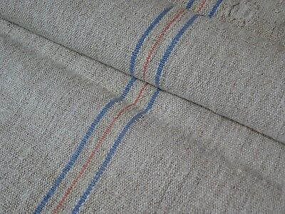 Antique European Feed Sack GRAIN SACK  Blue & Red Stripes # 9521