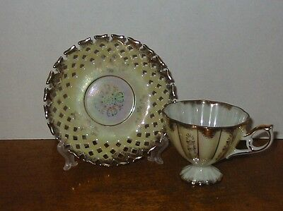 Napco Japan  Footed Tea Cup And Saucer Gold Trim Vintage