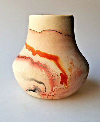 VTG Nemadji Pottery swirled finish vase bulbous shape orange brown gray 4.5in