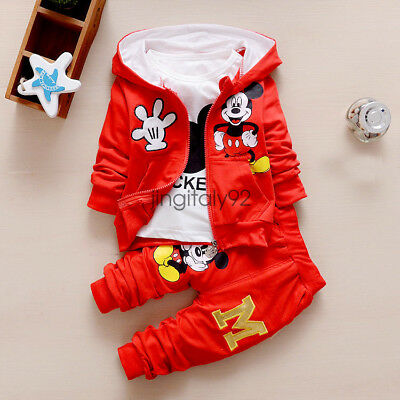 3pcs Kids Baby Boy Girl Mickey Mouse Cotton Clothes Hoody Coat T-shirt Pant Suit