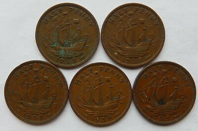 """1939 UK / Great Britain Half Penny Coin """"Lot of 5 Coins""""  SB5076"""
