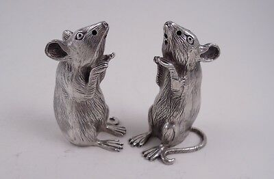 Pair Sterling Silver Mouse Mice Salt Pepper Shakers High Quality Figural Heavy