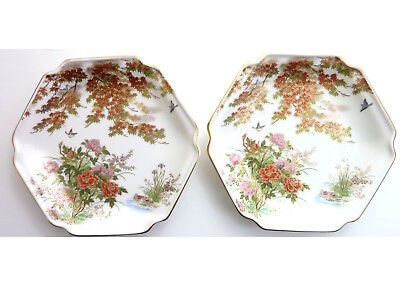 "Vintage Japanese Autumn Plates Yamaji Hexagon 7"", set of 2"