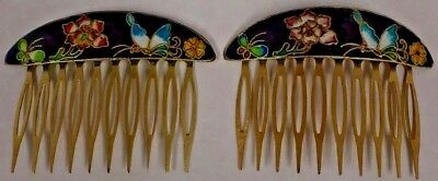 Vintage Pair of Cloisonne Enamel Floral Hair Combs Gorgeous Color Combinations
