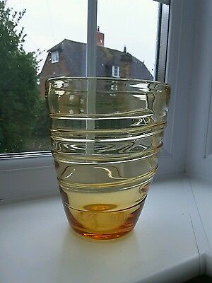 Whitefriars amber bucket vase designed by Barnaby Powell Pattern No 9030