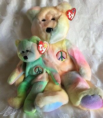 """Ty Beanie Buddy & Baby """" Peace  """"  Excellent Condition   Has All Tags  Retired"""