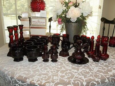 33 Pc's Ruby Red Cranberry Avon 1878  Cape Cod Coll.s&p Footed Glass Mugs Cruet