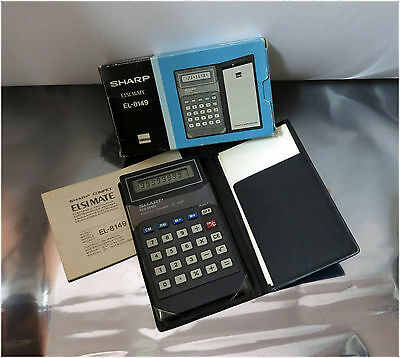 Vintage 1979 SHARP ELSI MATE, EL-8149, Electronic Calculator, w/ Box and manual