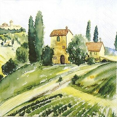 4x Paper Napkins for Decoupage Decopatch Craft Tuscany Watercolour