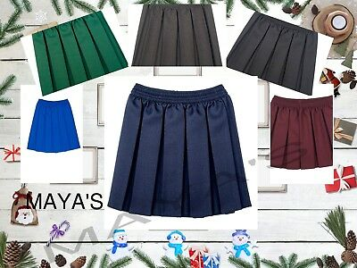 Girls Box Pleated Elasticated Waist School Skirt Kids School Uniform All Ages