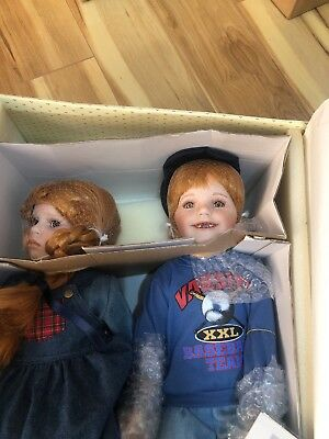 "Hannah & Henry Porcelain Dolls By Donna RuBert 19"" Red Hair, Chalk Board, Bench"