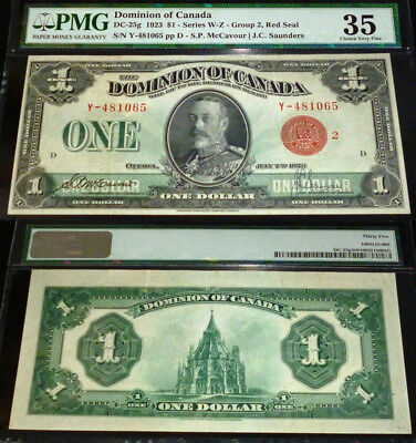 1923 $1 Dominion Of Canada Red Seal  Pmg 35