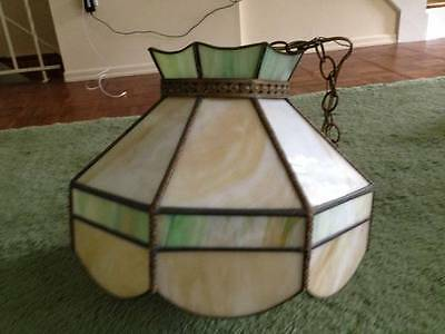 Vintage Hanging Lamp Retro Leaded Swag Mod 1960s / 1970s Great Shape! Pickup NYC