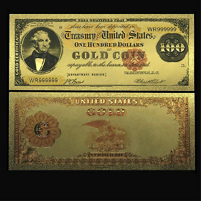 24K Gold Plated Foil 1882 $100 Gold Novelty Dollar Banknote Bll With Sleeve