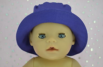"Play n Wear Doll Clothes To Fit 17"" Baby Born DARK PURPLE DRILL SUN HAT"
