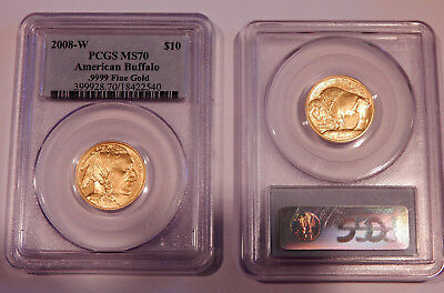 2008-W $10 .9999 Gold Burnished American Buffalo Coin PCGS Graded MS70
