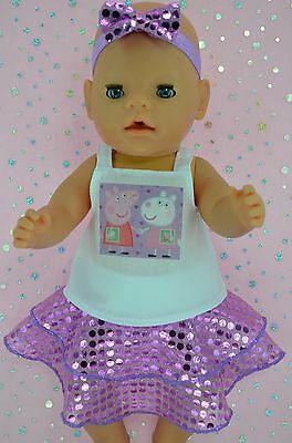 "Play n Wear Doll Clothes To Fit 17"" Baby Born LILAC SEQUIN SKIRT~TOP~HEADBAND"