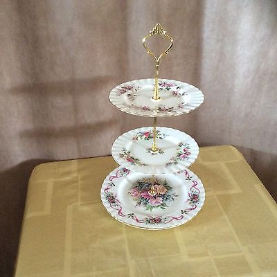 A Royal Albert Mis Match Roses 3 Tier Cake Stand.