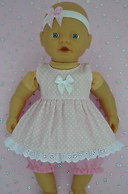 "Play n Wear Doll Clothes 13""Little Baby Born/Mommy PINK DRESS~BLOOMERS~HEADBAND"