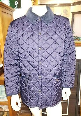 Classic Mens Barbour Eskdale Quilted Insulated Jacket Coat Navy Blue Size M