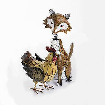 Large Metal Nodding Fox Garden Ornament With Little Hen Chicken Set