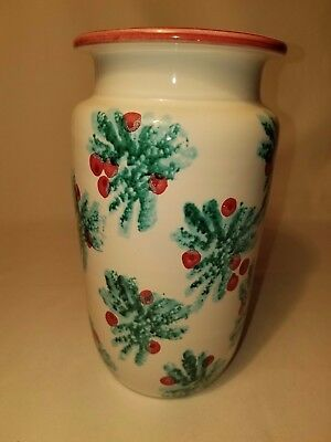 Dayton Hudson Christmas Holly Berry Ceramic Vase Made in Italy