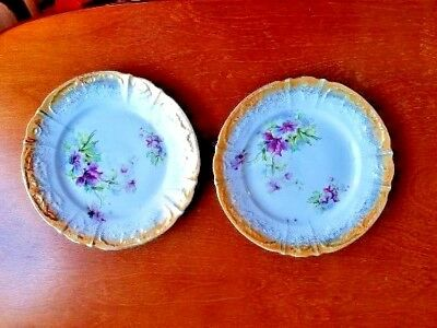 "Antique: Beautiful pair of Falker and Stern 7 5/8"" cake plates."