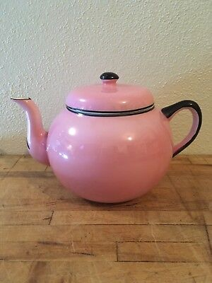 Antique Pink Harker Semi Porcelain Early 20th Century Teapot W/ Lid And Creamer