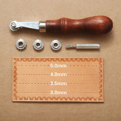 Leather Craft Sewing OverStitch Wheel Tyre Marker Spacer Roulette Embossing Kit