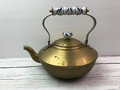 Benjamin & Medwin INC, Vintage Brass Kettle with blue and white Ceramic handle
