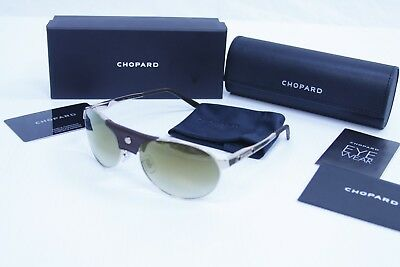 7c824ae935f Chopard SCH-974 Men Leather Piece gold Mirrored Polarized Aviator Sunglasses