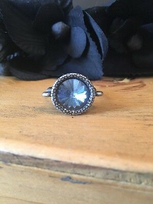 Gothic Victorian Gothic Steampunk  Crystal Ring Light Blue