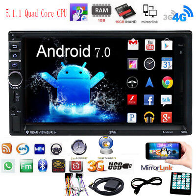 """Android 7.0 Touch Car Stereo Radio 7"""" 2 DIN GPS Nav MP5 Player Quad Core 3G WIFI"""