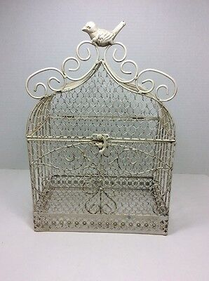 VINTAGE STYLE METAL WIRE DECORATIVE - BOX BIRD CAGE SHAPE ~ HINGED TOP Decor #2