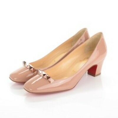 new concept 0b783 de157 Christian Louboutin Nude / Rose Gold Pyramidame 45 Patent Leather Pumps 9.5