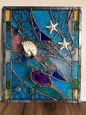 Stained Glass  Window Sea Shell Coral Sailboat Suncatcher Agate Ocean Panel