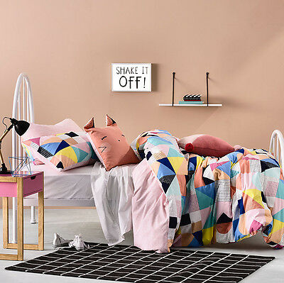 Adairs Kids Darcee Queen Quilt Cover Set Pink BRAND NEW - RRP $149.95