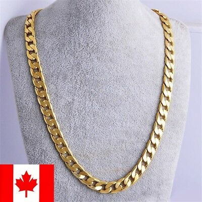 "Men's Stainless Steel 18K Gold Filled Curb Cuban Chain Necklace Jewelry 20"" 24"""