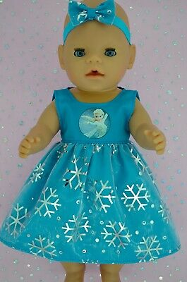 "Play n Wear Doll Clothes To Fit 17"" Baby Born SNOWFLAKE TURQUOISE DRESS~HEADBAND"