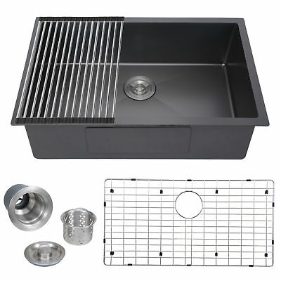 """28""""x18"""" Commercial Nano 304 Stainless Steel Kitchen Sink Laundry Grid Top Mount"""