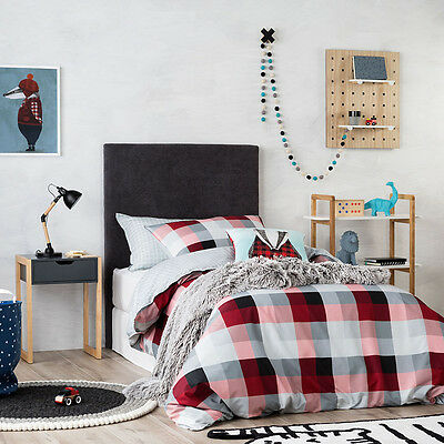 Junior Bed QUILT COVER SET BNIP grey ADAIRS KIDS Mr North Red//Black check COT